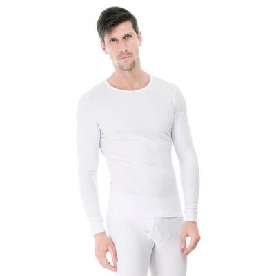 Camiseta-Manga-Longa-rib-1x1-Gola-Careca-branca-frente