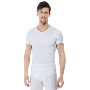 Camiseta-Manga-Curta-Rib-Gola-V-branca-frente