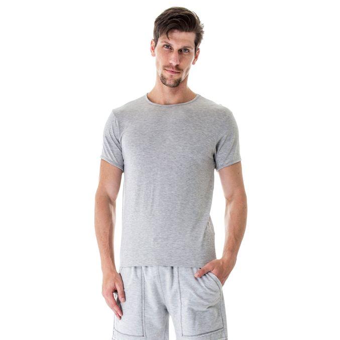 Camiseta manga curta modal gola careca