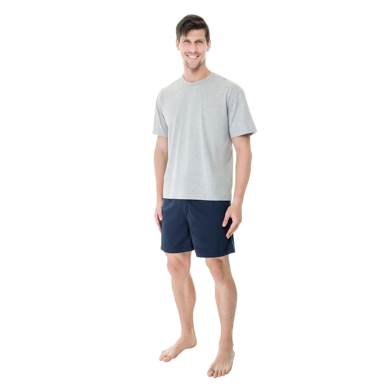 Pijama curto Marinho de Malha - Compre Já  5b14e9d4226b4