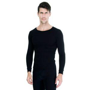 Camiseta-Manga-Longa-rib-1x1-Gola-Careca-preta-frente