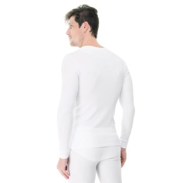 Camiseta-Manga-Longa-Rib-Gola-Careca-branca-costas
