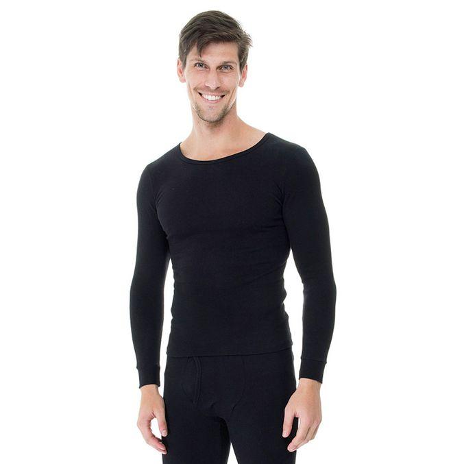 Camiseta-Manga-Longa-Rib-Gola-Careca-frente-preta