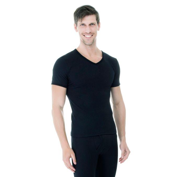 Camiseta-Manga-Curta-Rib-Gola-V-preta-frente