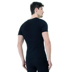 Camiseta-Manga-Curta-Rib-Gola-V-preta-costas