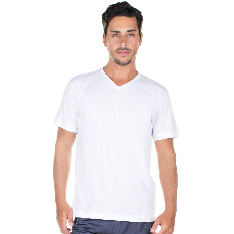 Camiseta Manga Curta e gola Vde Algodão Branca - Casa das Cuecas ... ad2ef81e20b7e
