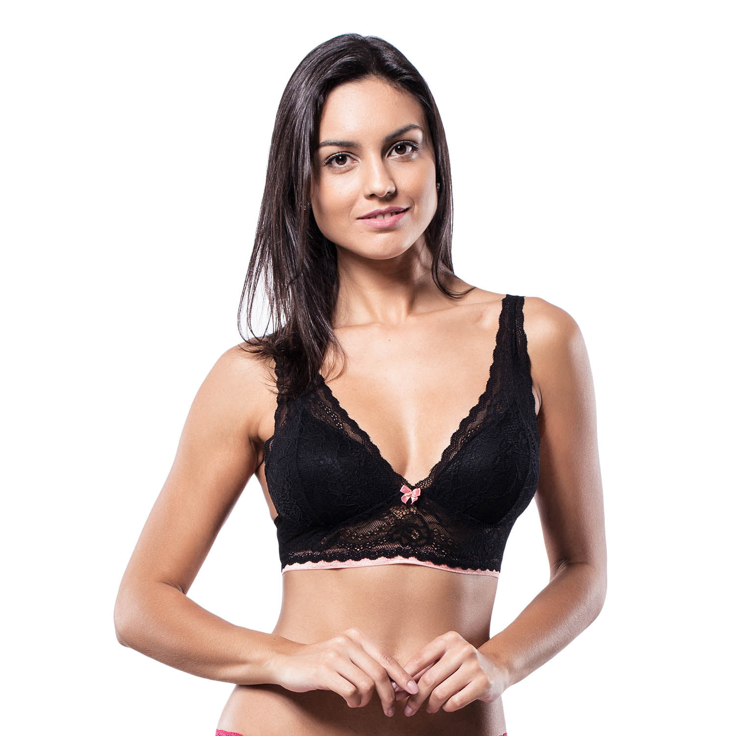 Sutiã Top Push Up Renda Preto  63608968388