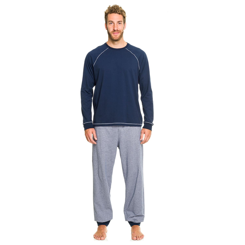Pijama Longo Malha Marinho  a4c409980c96b