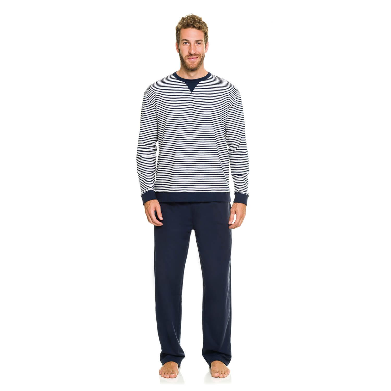 Pijama Longo Listrado Marinho  54483af2c0503