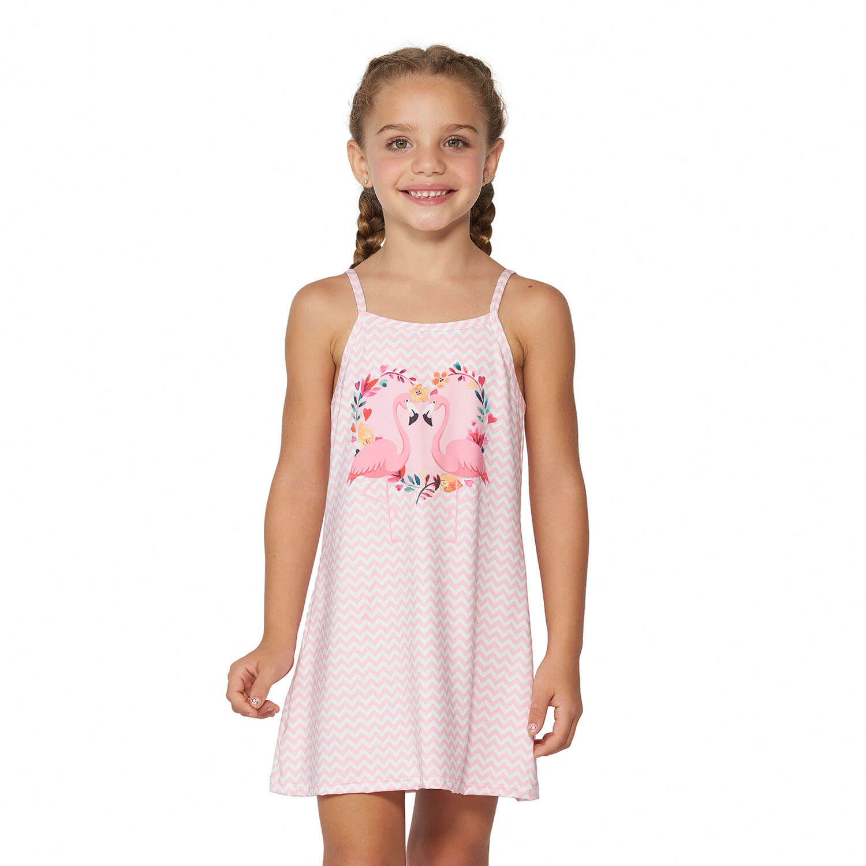 379a1164af Vestido Saída de Praia Infantil Flamingo - Marcyn