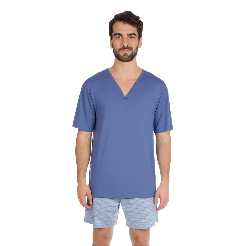 Pijama Curto Gol V Azul - Casa das Cuecas  d385f57d73618