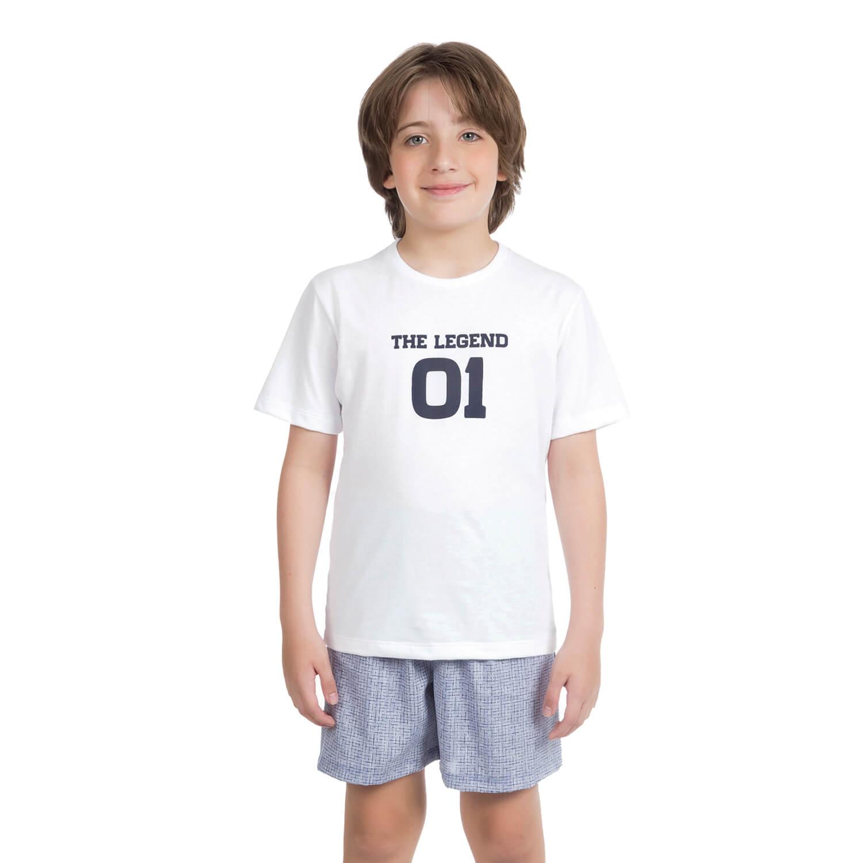 Pijama Curto Infantil Tricoline Estampado Branco - Casa das Cuecas ... 89e428c7b44f9